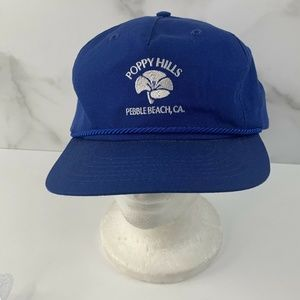 Texace Accessories - Vintage Poppy Hills Pebble Beach CA Blue Hat Cap